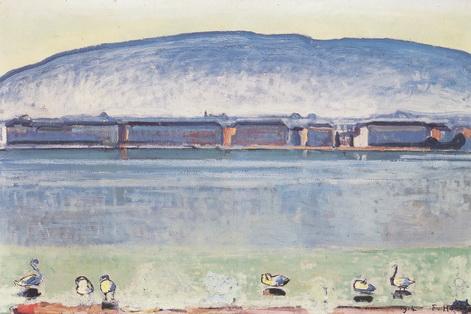 Lake Geneva and 6 swans